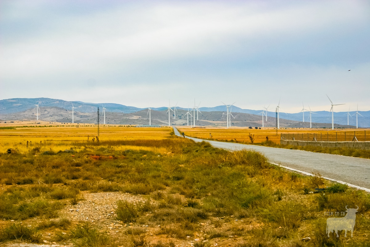 Spain film location road country windfarm
